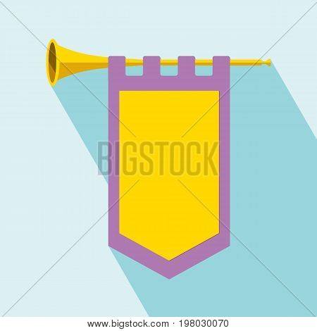 Trumpet with flag icon. Flat illustration of trumpet vector icon for web design. Cleaning Trumpet icon with long shadow. All in a single layer. Vector illustration.