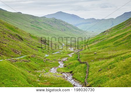 Beautiful views in Lake District National Park, England, mountains on the background, selective focus