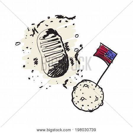 USA space program hand drawn icon isolated on white background vector illustration. American ethnic culture element, traditional symbol.