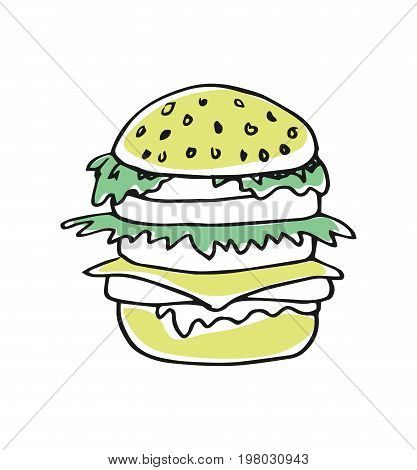 American fast food, hamburger hand drawn icon isolated on white background vector illustration. American ethnic culture element, traditional symbol.