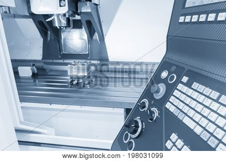 The control panel of CNC panel in light blue scene.The hi-technology machine