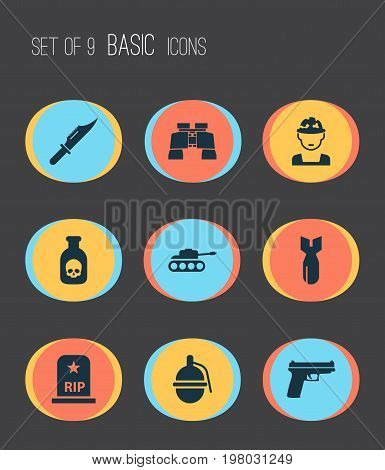 Battle Icons Set. Collection Of Weapons, Rocket, Panzer And Other Elements