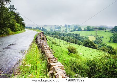 Road views of Rainow, near Macclesfield, Cheshire, United Kingdom, selective focus