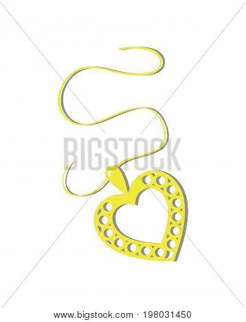 Happy valentine day isolated icon with pendant in heart shape. Love and wedding romantic symbol, just married hand drawn vector illustration.