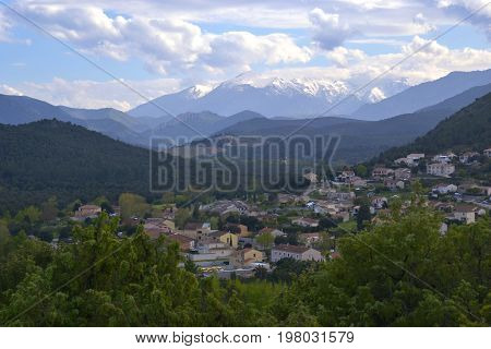 View on Ponte-Leccia from mountains Corsica France