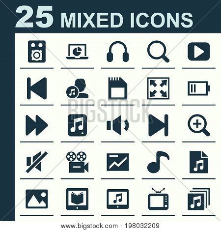 Music Icons Set. Collection Of Music, Infographic, Zoom In And Other Elements