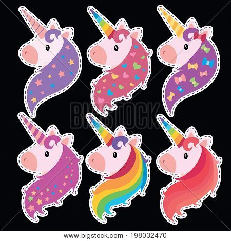 A set of portraits of unicorns in cartoon style. A collection of colored unicorns. Mimic animals.
