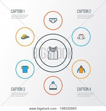 Clothes Colorful Outline Icons Set. Collection Of Elegant Headgear, Beanie, Underwear And Other Elements