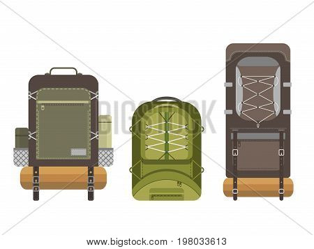 Colorful camping modern backpack set in flat design isolated on white background. Tourist retro back packs. Classic styled hiking backpacks with sleeping bags. Detailed illustration.