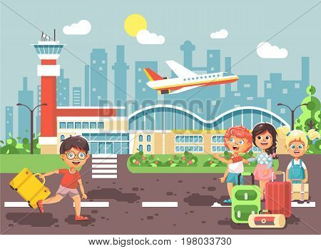 Stock vector illustration cartoon character late boy run to little children girl standing at airport, departing plane, bag suitcases awaiting for travel trip holiday weekend flat style city background