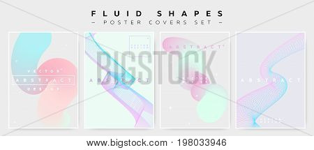 Pastel Covers Set with Abstract Fluid Waves. Modern Minimalistic Vector Illustration for Placard Flyer Banner ReportPresentation. Abstract Futuristic Design with Holographic Colors and Copy Space.