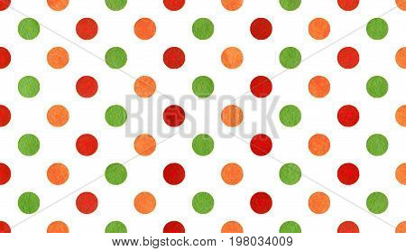 Watercolor Orange, Red And Green Polka Dot Background.
