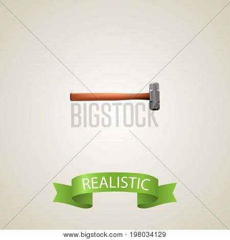 Realistic Sledgehammer Element. Vector Illustration Of Realistic Handle Hit Isolated On Clean Background