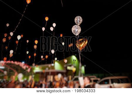 Guests With Bride And Groom Releasing Ballons In The Air At Wedding Night.