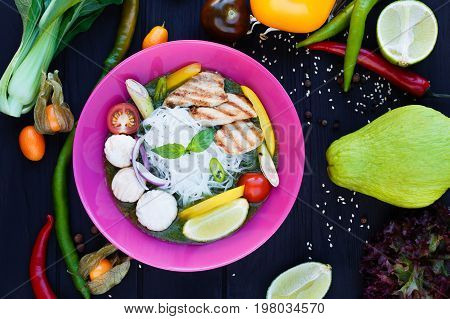 Traditional Thai Green Curry With Grilled Chicken, Lime, Funchoz