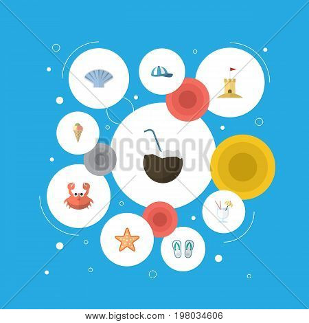 Flat Icons Slippers, Cocos, Cancer And Other Vector Elements