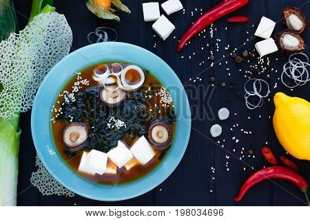 Miso Soup With Shrimps, Mushrooms And Tofu. Japanese Food