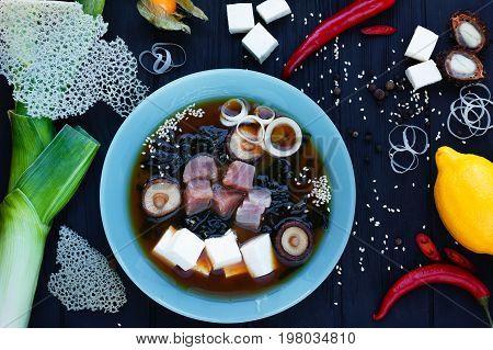 Miso Soup With Tuna, Mushrooms And Tofu Cheese, Traditional Japa