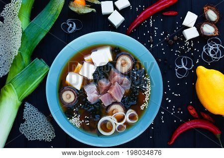 Miso Soup With Tuna, Mushrooms And Tofu. Traditional Japanese Fo