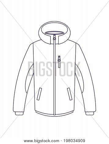 Touristic winter jacket isolated vector icon. Outdoor activity, nature traveling equipment element.