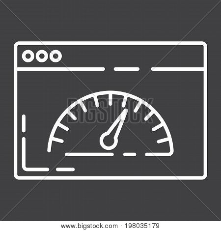 Page Speed line icon, seo and development, browser sign vector graphics, a linear pattern on a black background, eps 10.