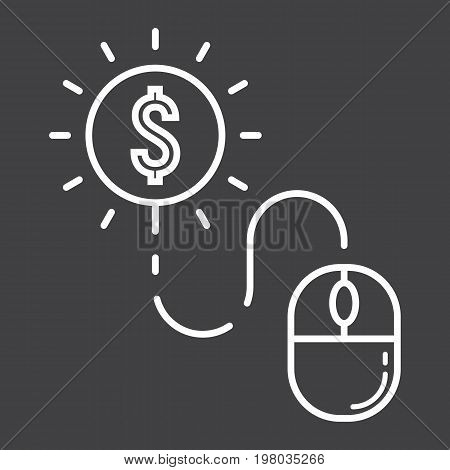Pay per click line icon, seo and development, mouse sign vector graphics, a linear pattern on a black background, eps 10.