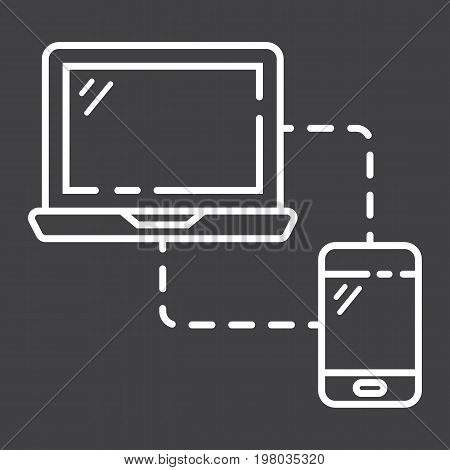 Responsive web design line icon, seo and development, sync devices sign vector graphics, a linear pattern on a black background, eps 10.