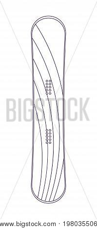 Sports snowboard isolated vector linear icon. Outdoor activity, nature traveling, snowboarding equipment element.