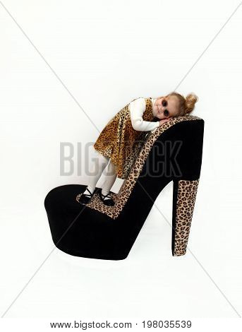 Little Girl models an animal print jumper and tights. She has on sunglasses and is standing on a giant high heel shoe.