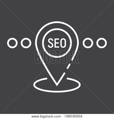 Local SEO line icon, seo and development, pin sign vector graphics, a linear pattern on a black background, eps 10.