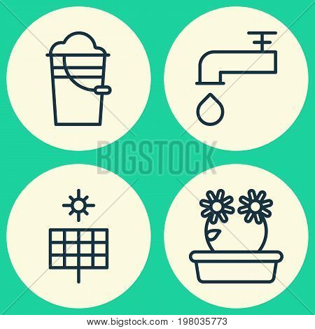 Garden Icons Set. Collection Of Bucket, Floral, Spigot And Other Elements