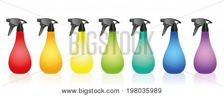 Spray bottles - colorful variations with blank labels. Isolated vector illustration over white background.