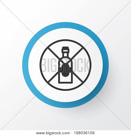 Premium Quality Isolated No Drinking Element In Trendy Style.  Alcohol Forbid Icon Symbol.