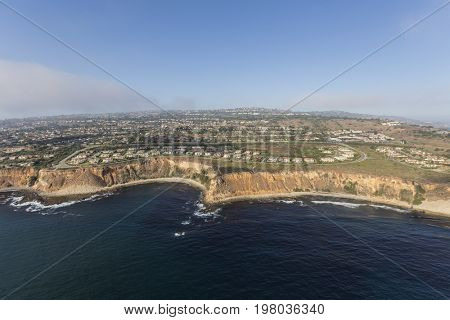 Aerial view of bluff top neighborhood near Los Angeles in the Rancho Palos Verdes, California.