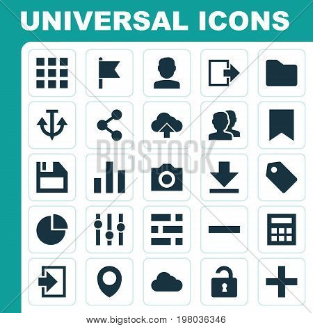 Interface Icons Set. Collection Of Floppy Disk, Map Pin, Quest And Other Elements