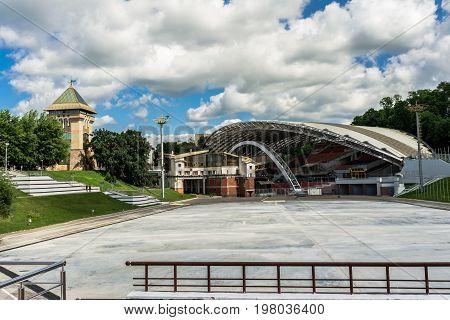 Summer Amphitheater In Vitebsk, Belarus. Amphitheater Is Traditional Scenic Platform For Popular Fes