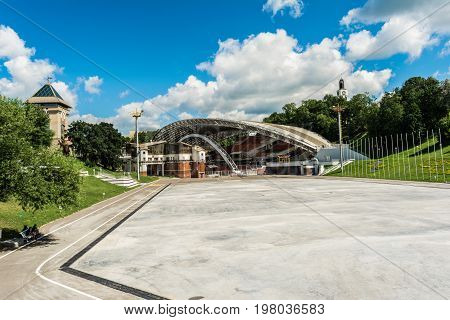Summer Amphitheater In Vitebsk, Belarus. Amphitheater Is Traditional Scenic Platform For Popular Fes