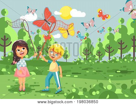 Stock vector illustration cartoon character two children, young naturalists, biologist boy and girl catch colorful butterflies with nets, scoop-nets, hoop-nets white background in flat style