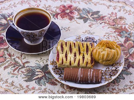 Coffee And A Plate Of Cookies.