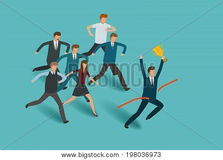 Business concept. Competition, competitive successful businessman vector illustration