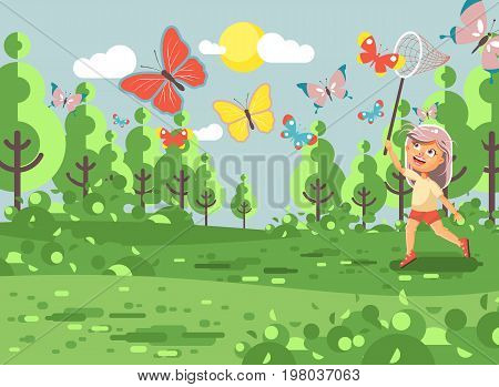 Stock vector illustration cartoon character lonely child, young naturalist, biologist blonde girl catch colorful butterflies with net, scoop-net, hoop-net on nature outdoor background in flat style