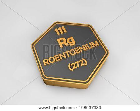 roentgenium - Rg - chemical element periodic table hexagonal shape 3d render
