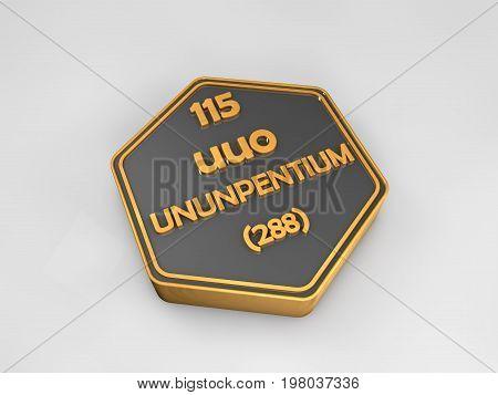 ununpentium - uuo - chemical element periodic table hexagonal shape 3d render