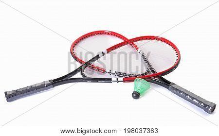 racket and shuttlecock of badminton in studio