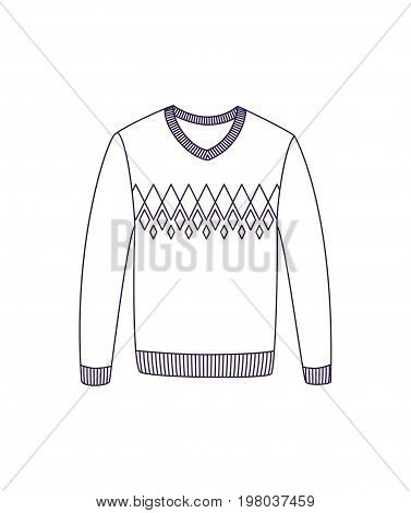 Woolen pullover isolated vector icon. Outdoor activity, nature traveling equipment element.
