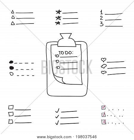 Collection of vector isolated outline hand drawn check to do list, bullet, check mark and check box, clipboard in a doodle sketch cartoon style. Clip board with paper note with task plan .