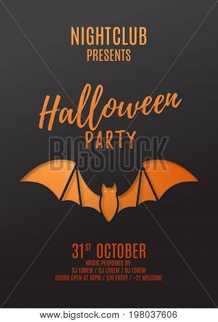 Dark flyer design for halloween party. Paper art style vector illustration. Festive card with bat. Invitation to nightclub.
