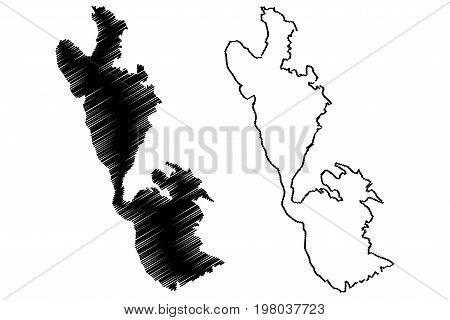 Ithaki island map vector illustration , scribble sketch Ithaki island