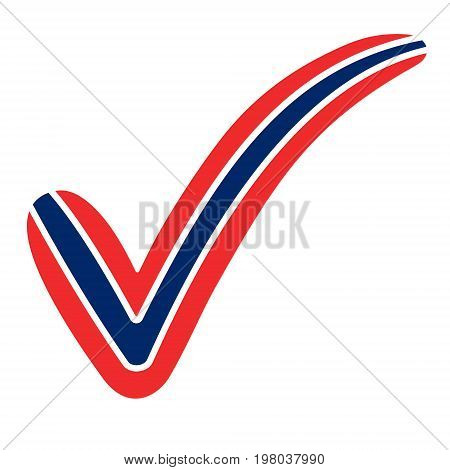 check mark style Norway flag symbol elections, voting and approval, vector concept check mark Norway tick NOR