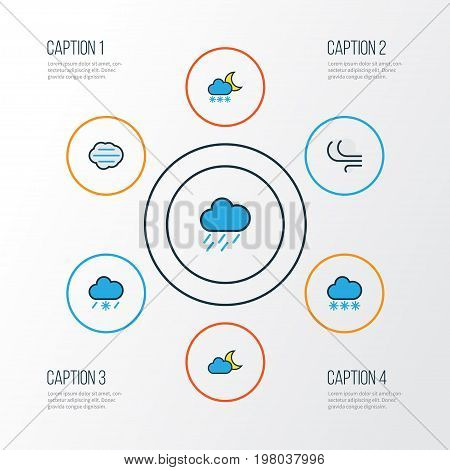 Climate Colorful Outline Icons Set. Collection Of Tornado, Snowing, Hazy And Other Elements